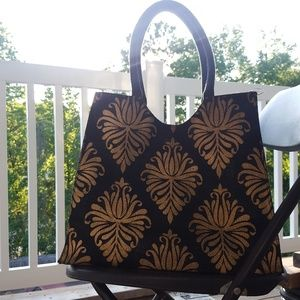 Handbags - Sale! Gold and Black canvas Summer tote/Beach bag.